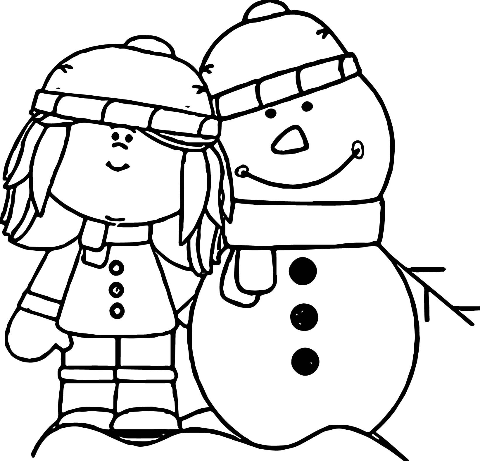 Winter Snowman And Girl Coloring Page