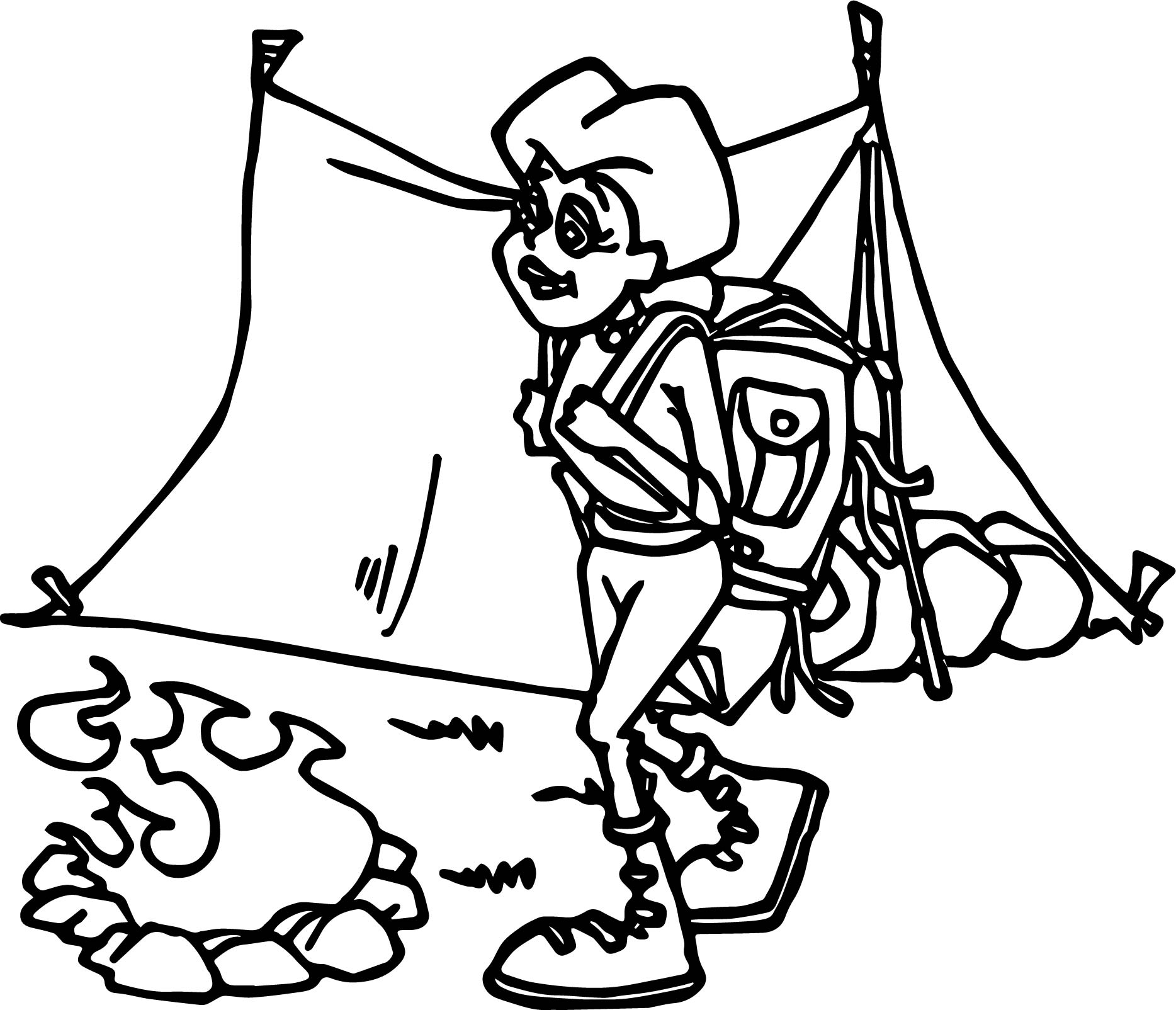 Woman Camping Coloring Page