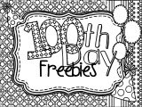 100 Days Of School Freebies Coloring Page