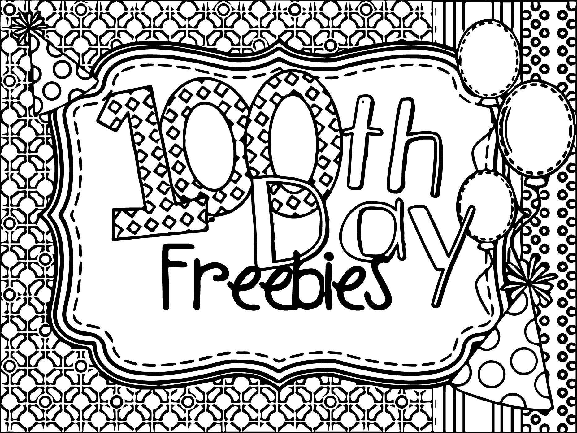 100 days of school coloring page - 100 days of school freebies coloring page