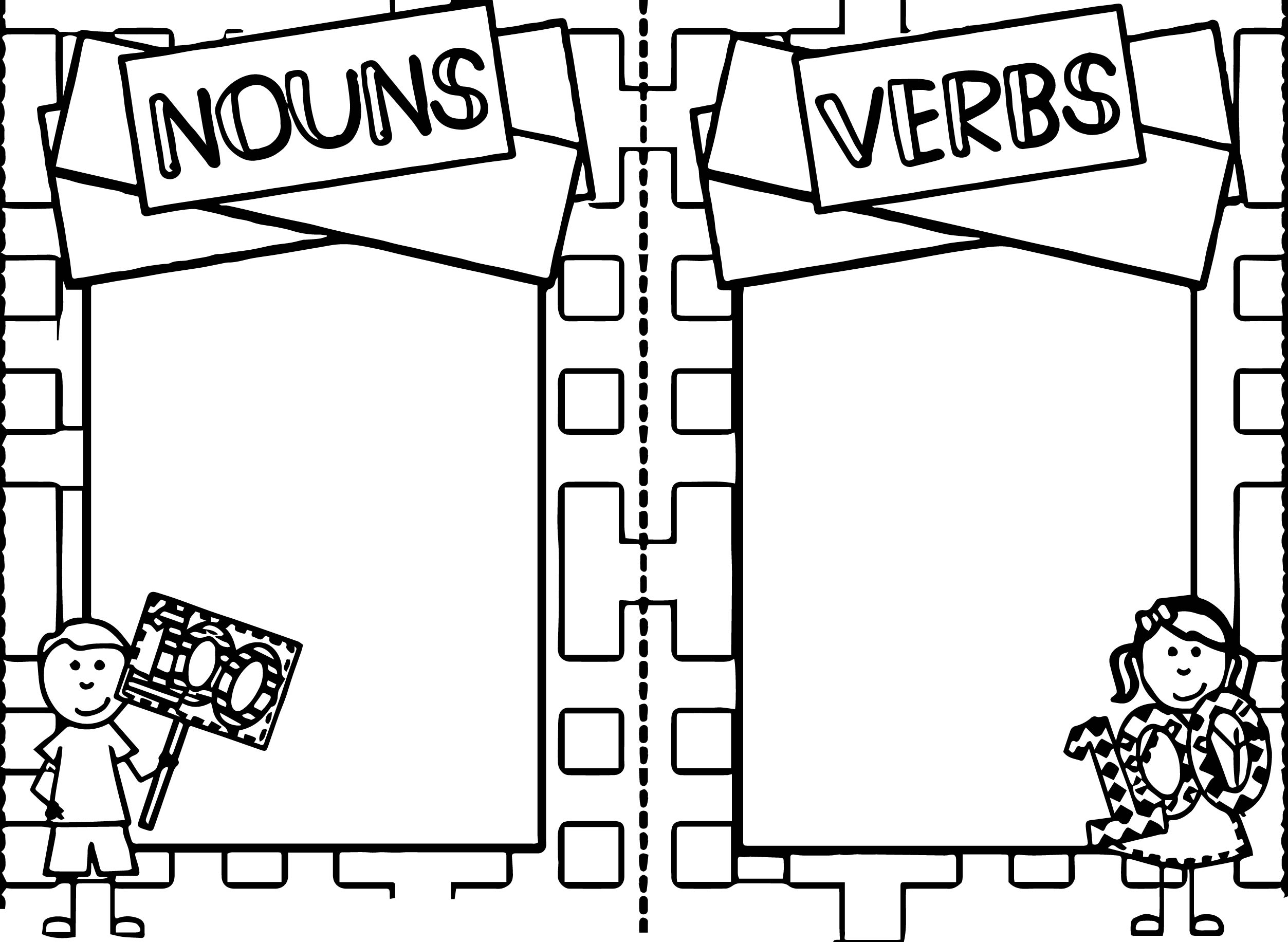 100 days of nouns verbs coloring page wecoloringpage
