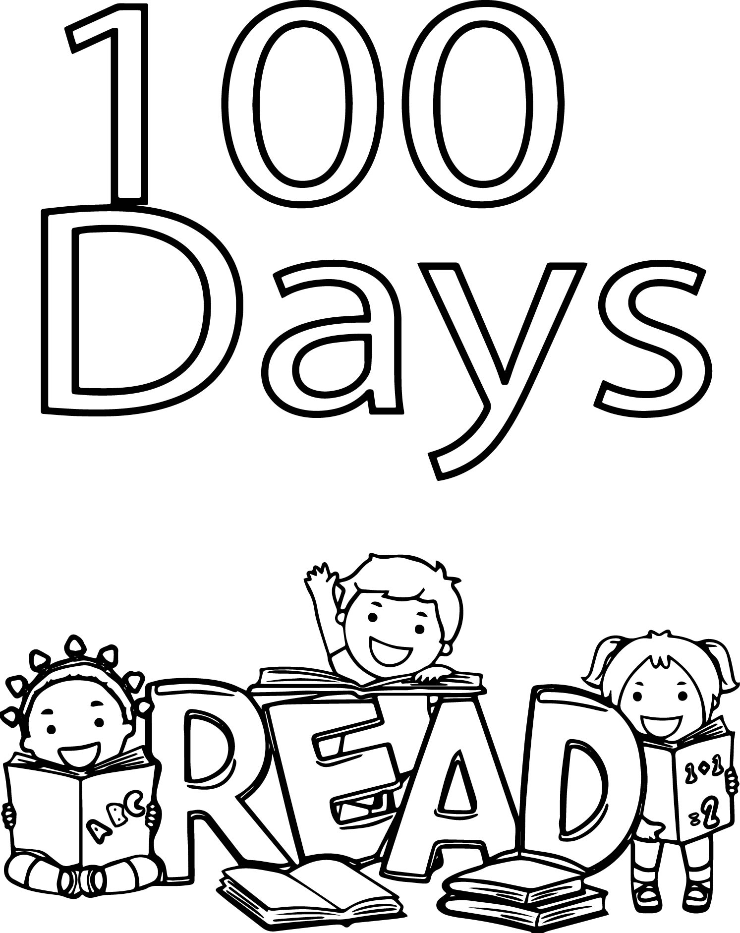 100 days of school read coloring page for 100 coloring pages