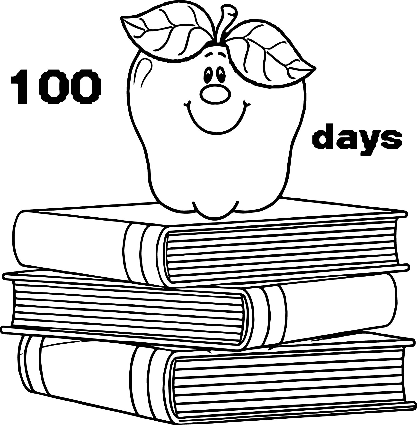 100 days school apple books coloring page for 100 coloring pages