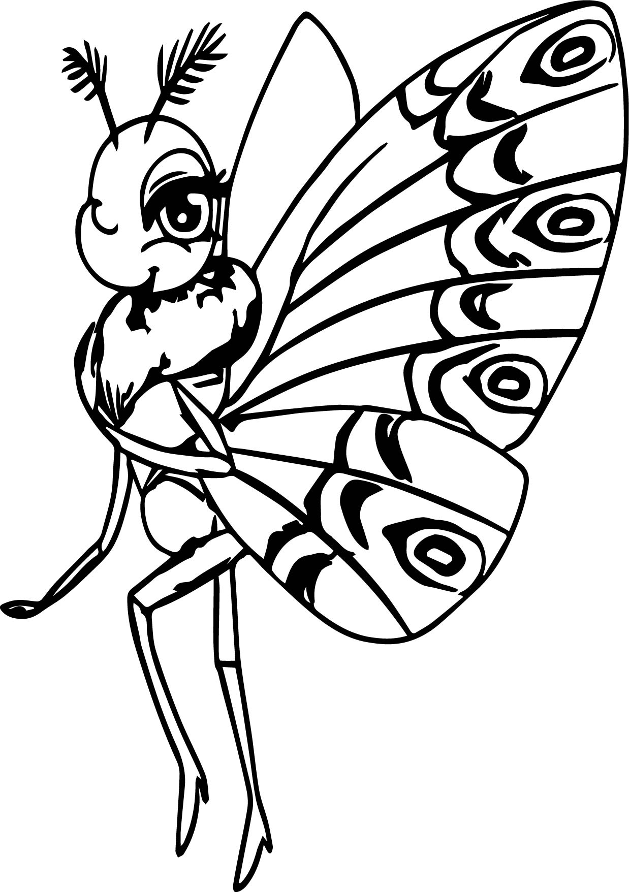 Colouring in pages for girls butterflies - A Bugs Life Girl Butterfly Coloring Page