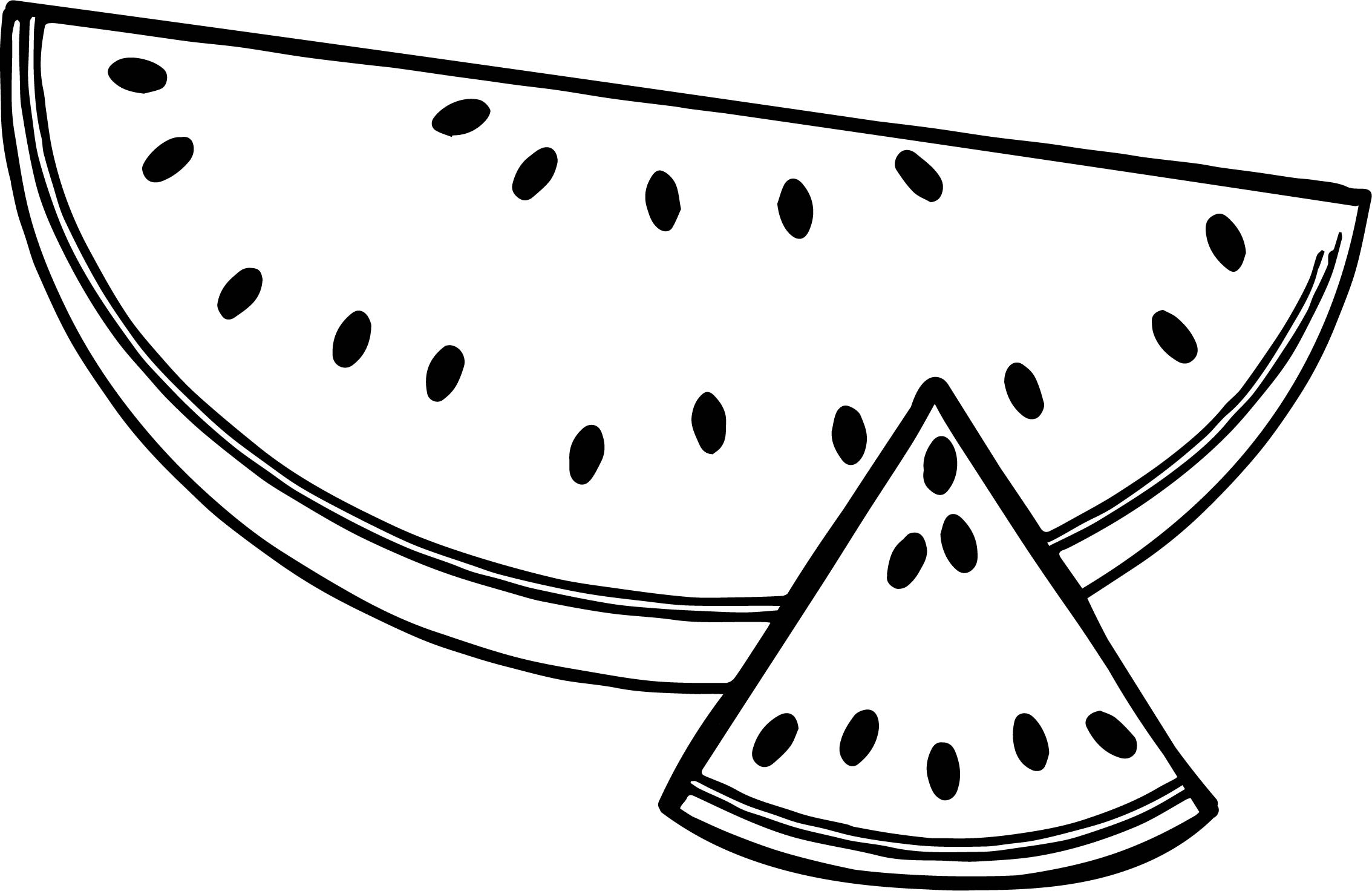 a sliced summer watermelon half and triangle coloring page - Slice Watermelon Coloring Page