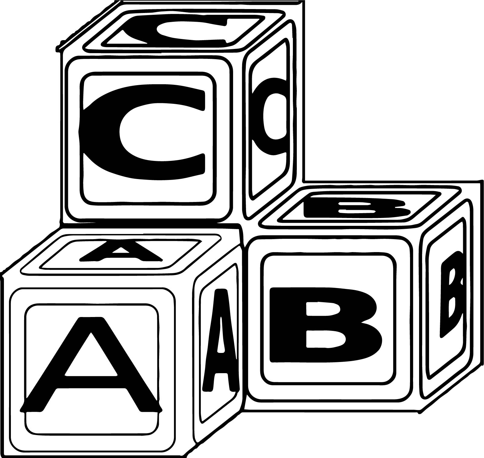 Coloring Pages Of Alphabet Blocks : Toy blocks drawing coloring pages of alphabet