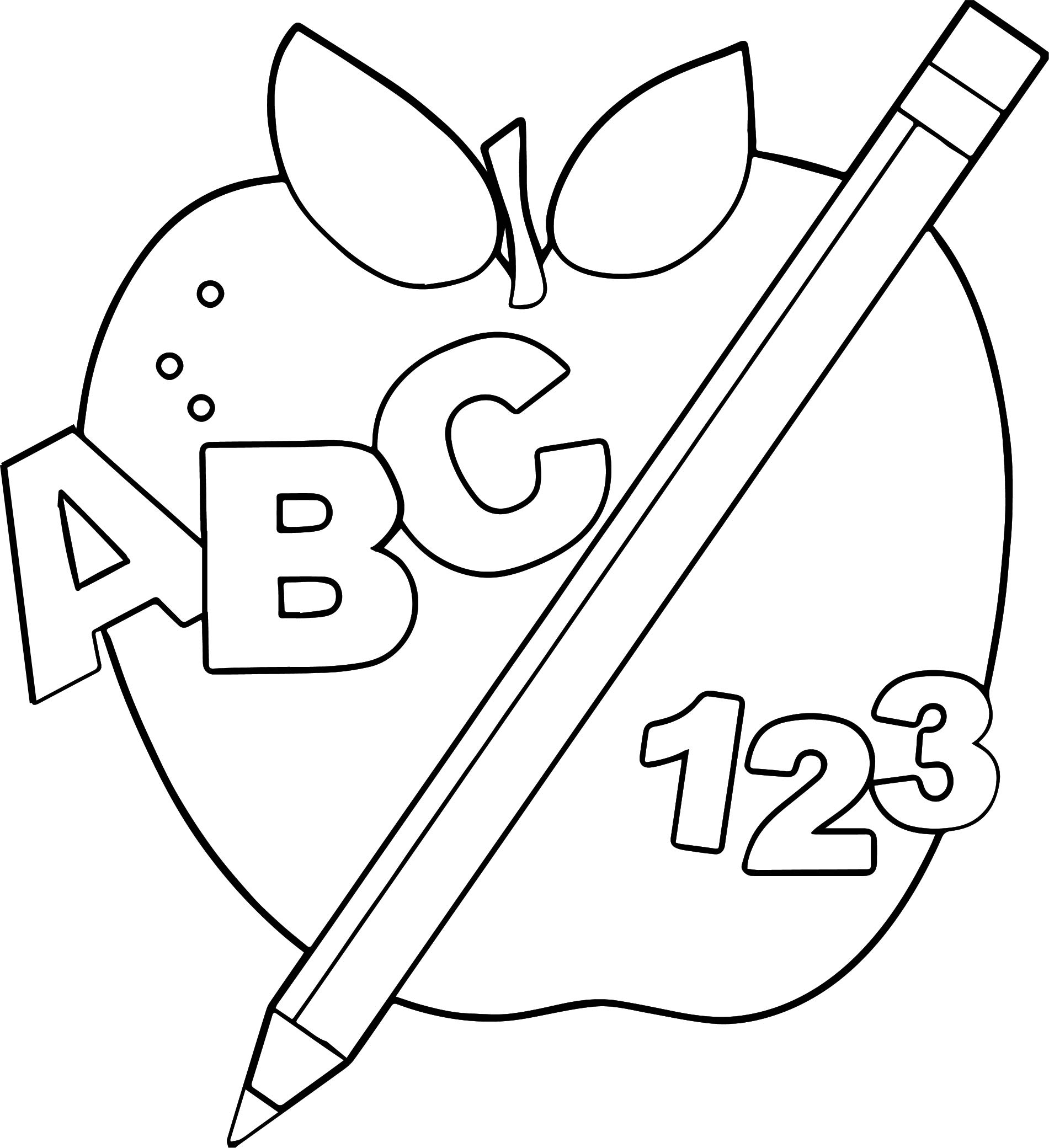 Abc Border Free Apple Image Coloring Page