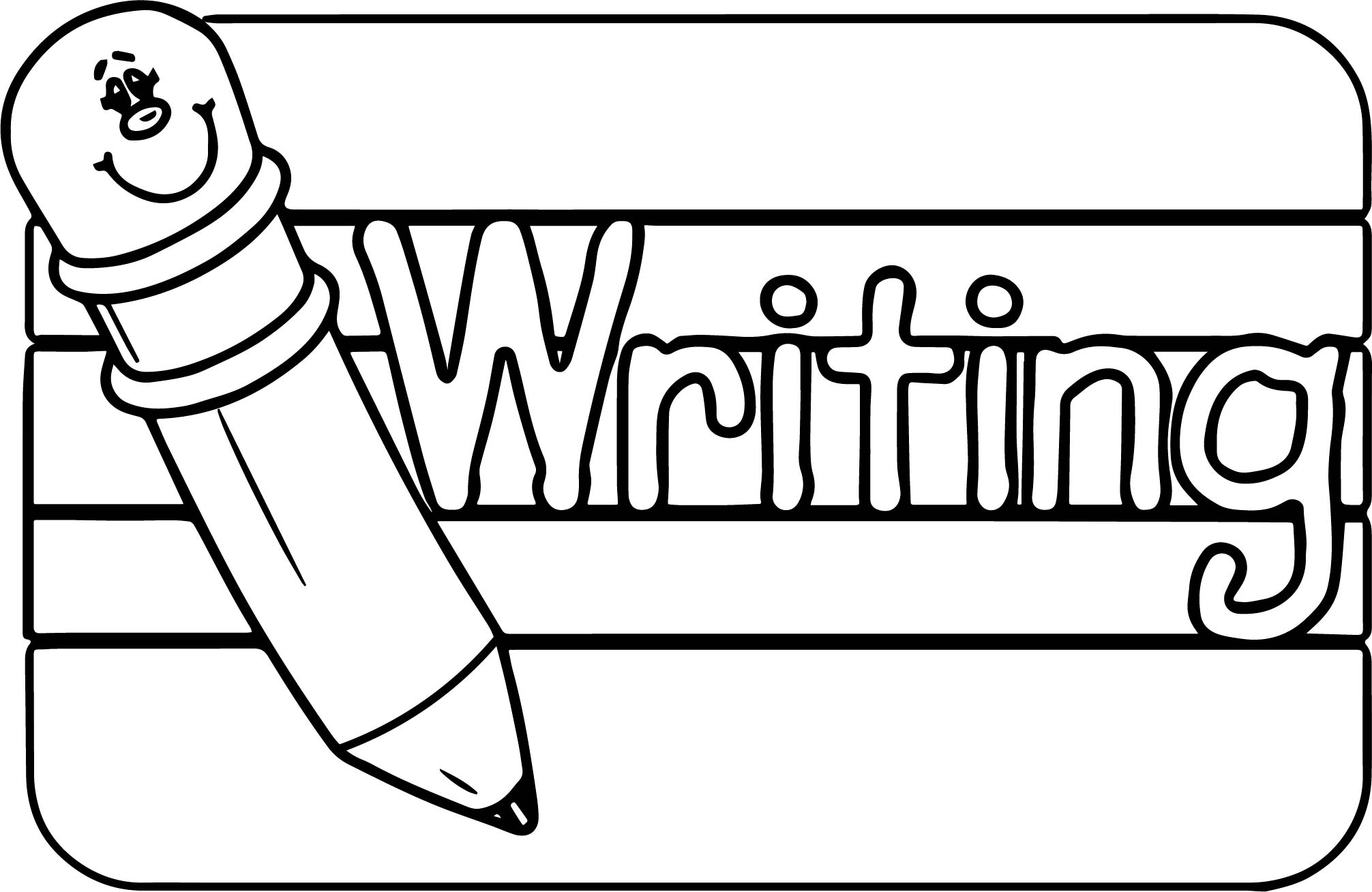 Coloring Pages For Writing : Abc pencil writing text sign coloring page wecoloringpage