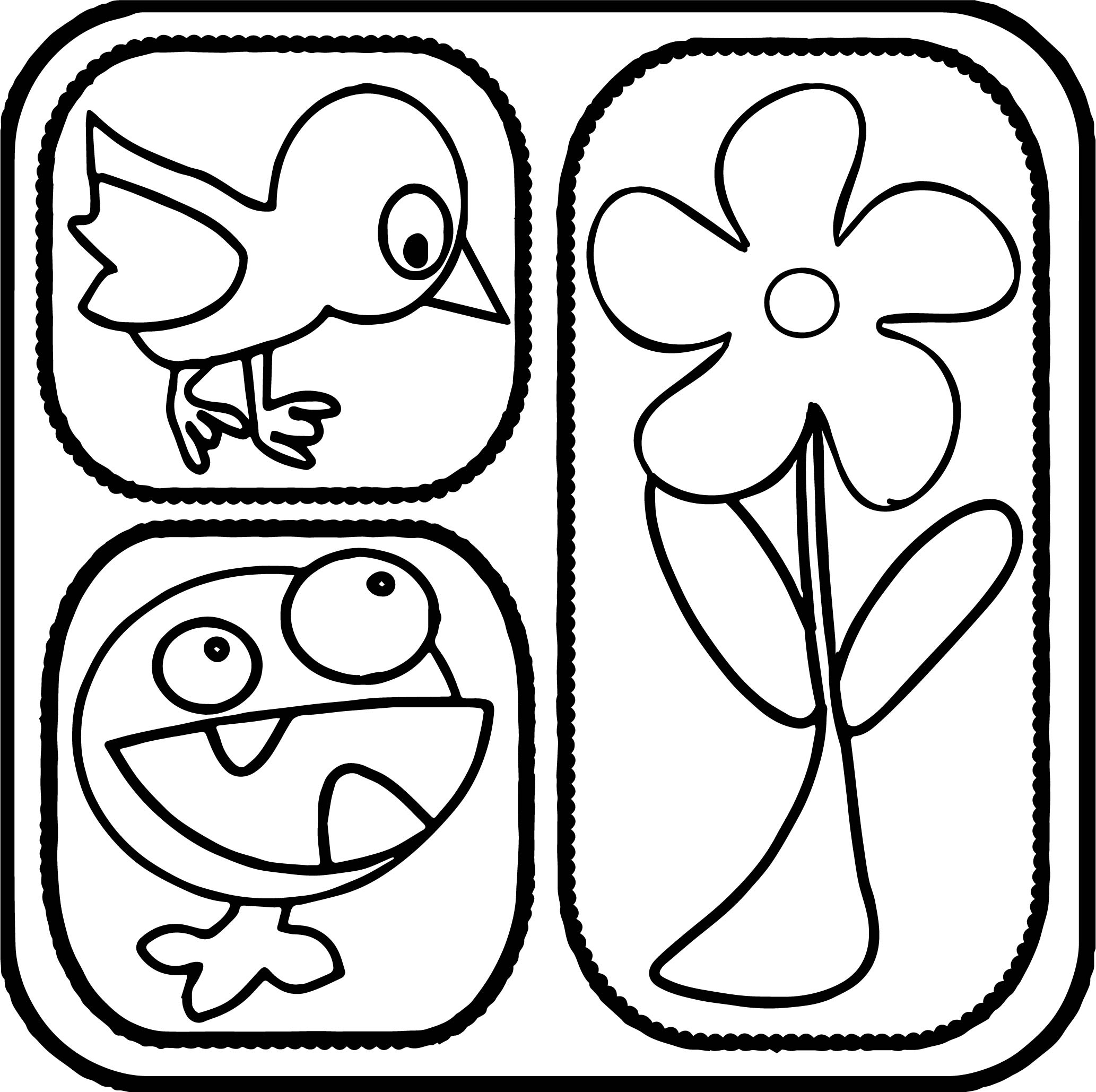 Abc Shape Bird Flower Creature Coloring Page