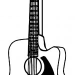 Accoustic Guitar Playing The Guitar Coloring Page
