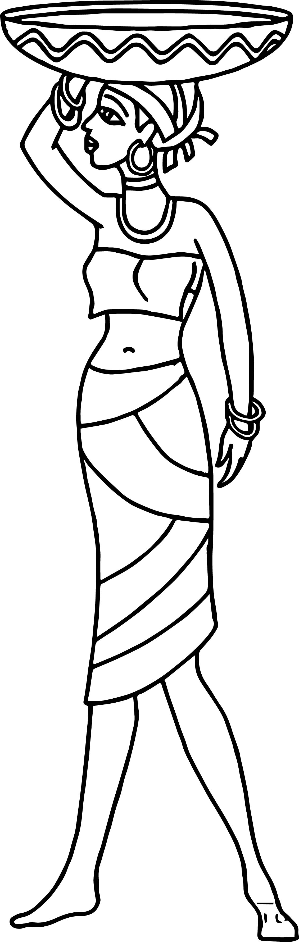 Africa Woman Carries Basket Coloring Page | Wecoloringpage.com