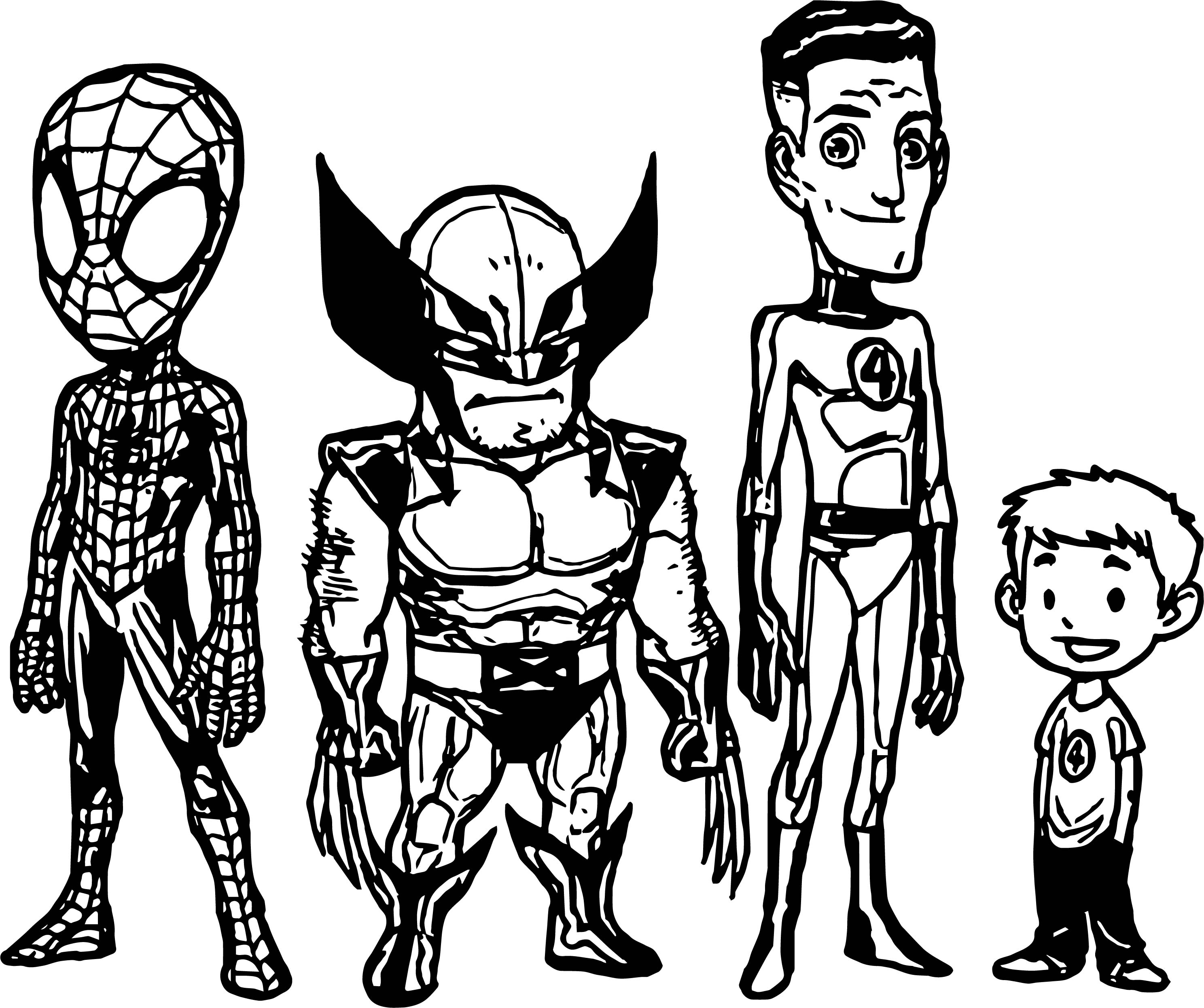 All Superheroes Super Hero Coloring Page