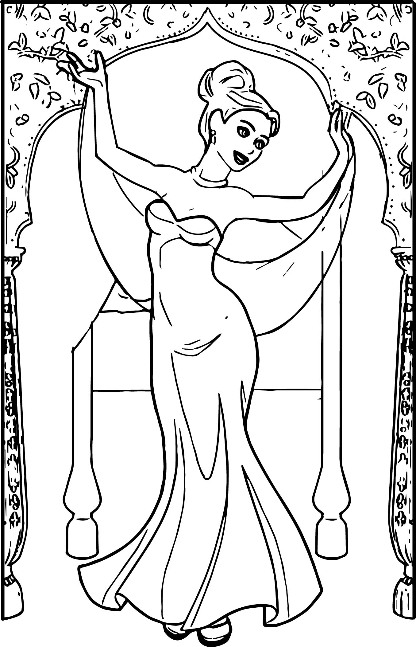 Anastasia Ballet Dress Indian Dancer Coloring Page