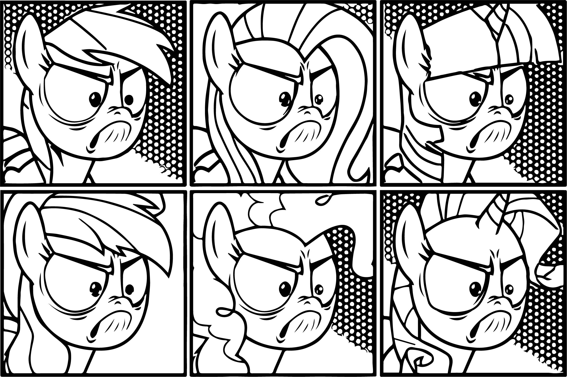 Angry Rainbow Dash Hair Style Coloring Page
