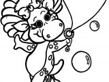 Baby Bop Blows Bubbles Coloring Page