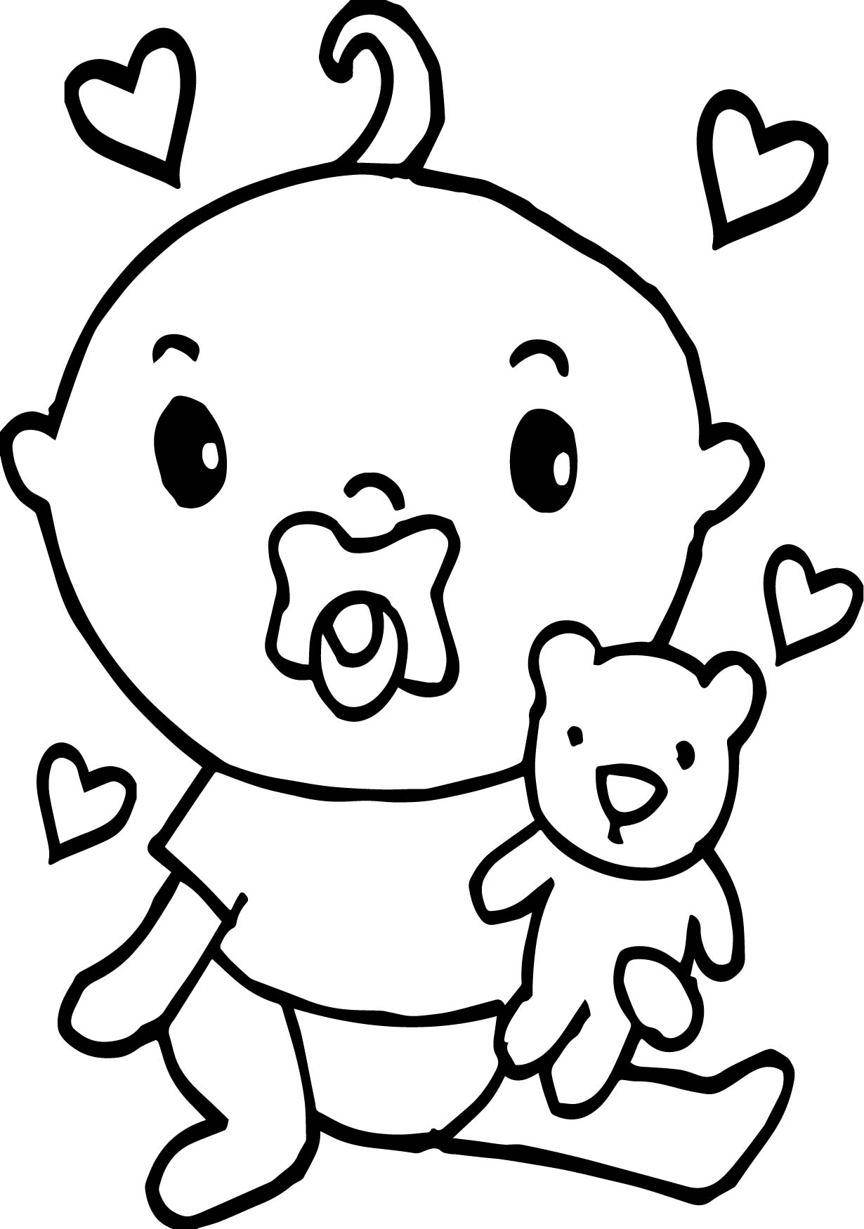 Baby Boy Monkey Boy With Teddy Coloring Page