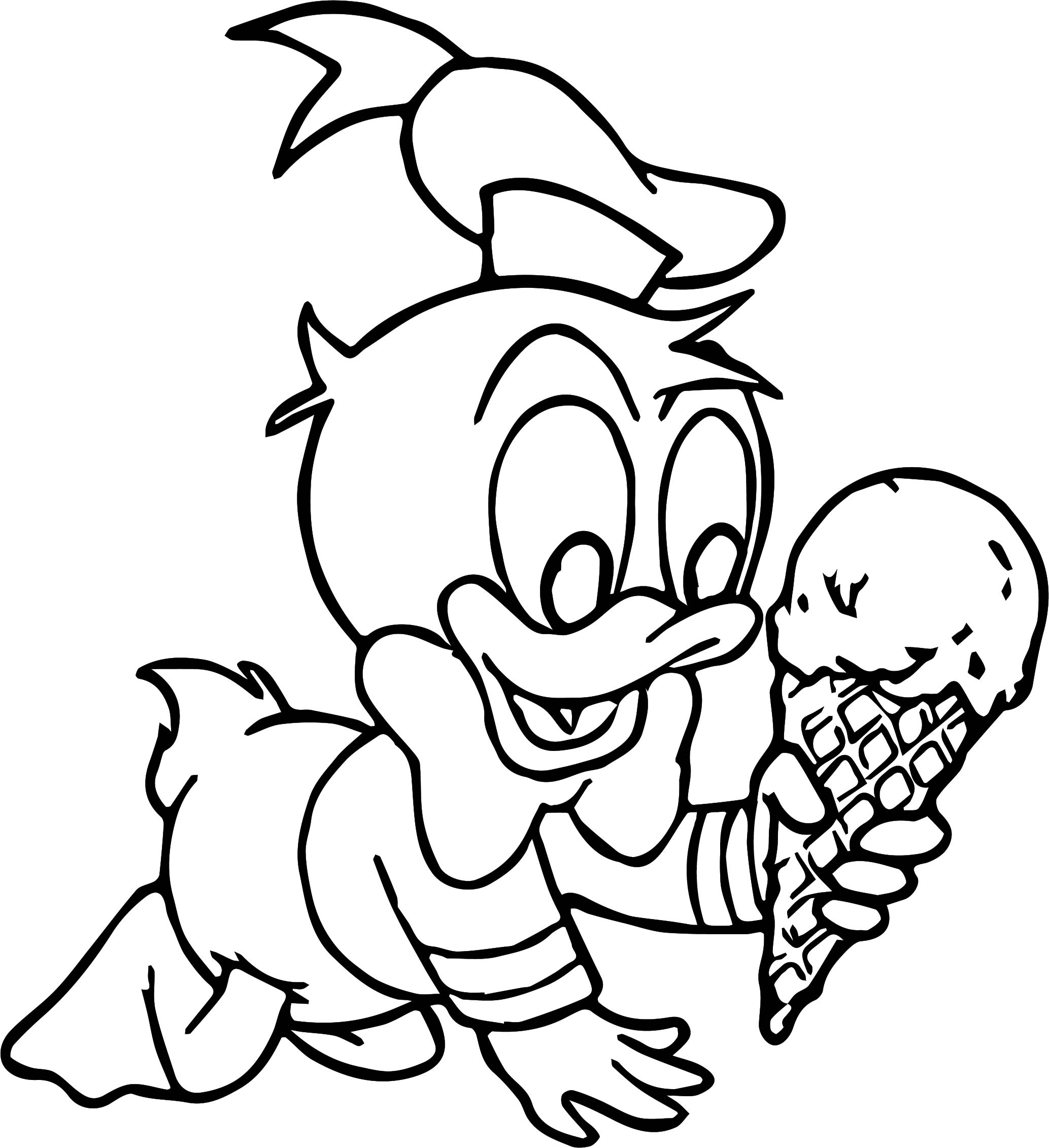 duck coloring page - baby donald duck ice cream coloring page