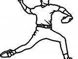 Baseball Pitcher Playing Baseball Coloring Page