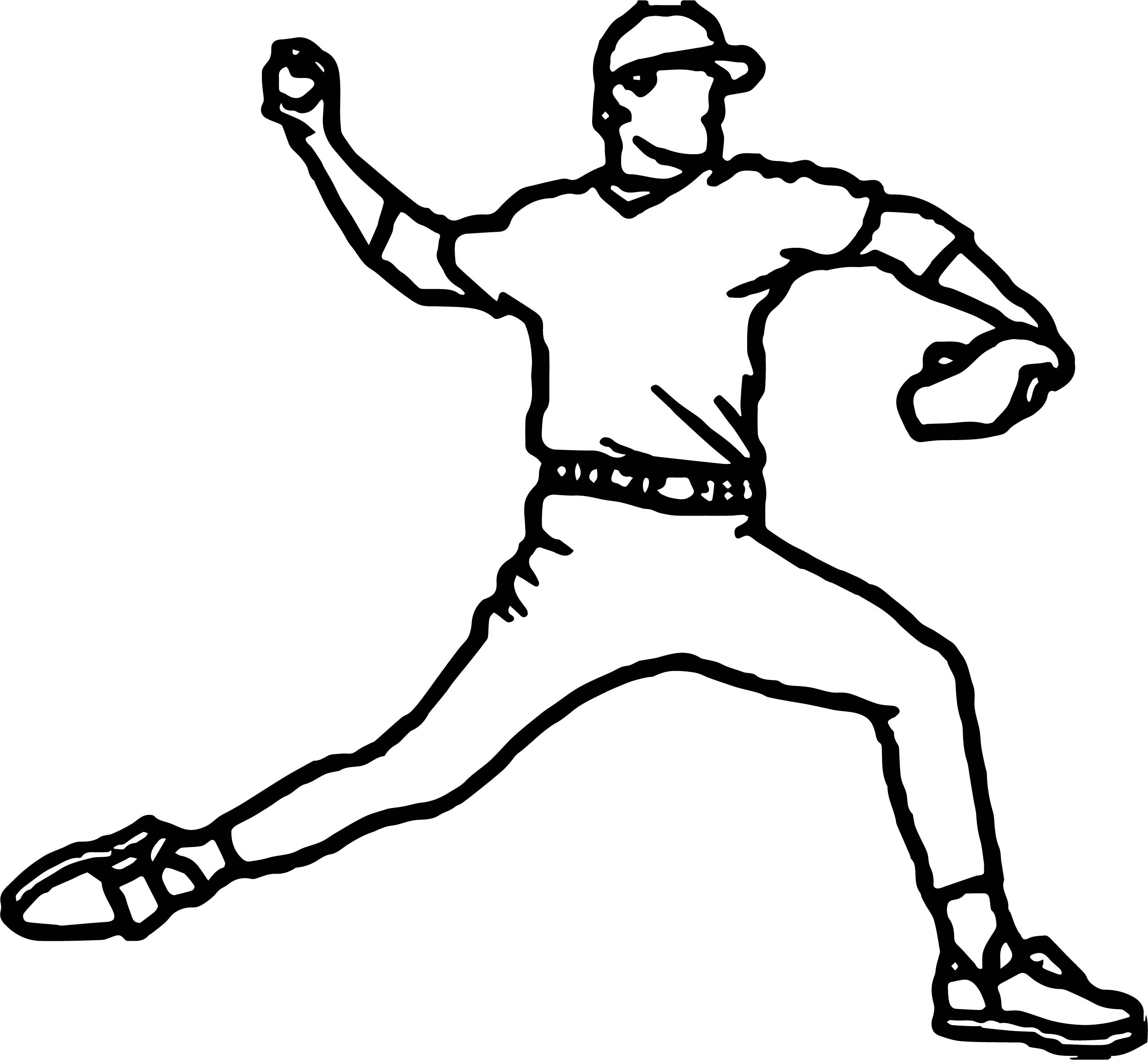 Baseball pitcher outline