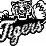 Baseball Tigers Playing Baseball Coloring Page