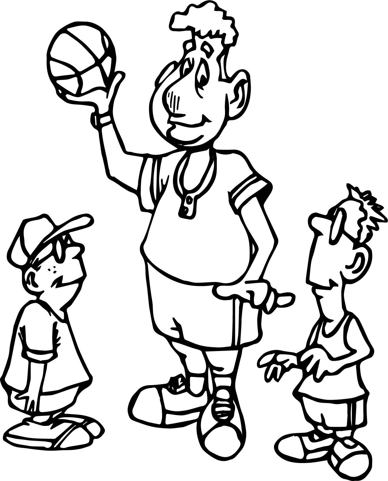 Basketball Players Playing Basketball Coloring Page