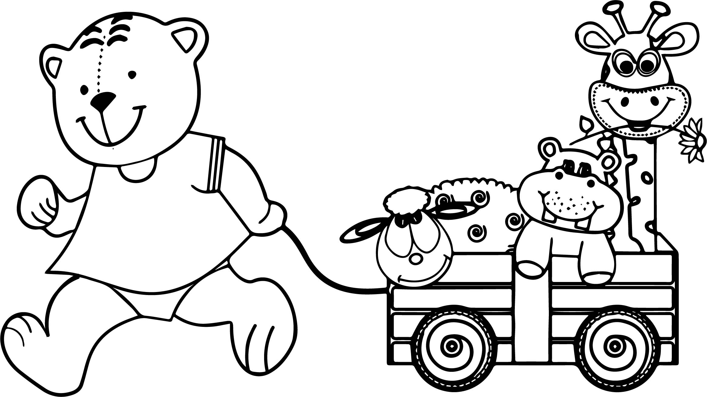 Bear and toys coloring page for Toy coloring page