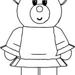 Bear Girl Cartoon Coloring Page