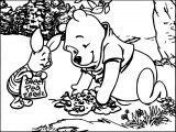 Best Friends Playing In Forest Winnie The Pooh Coloring Page