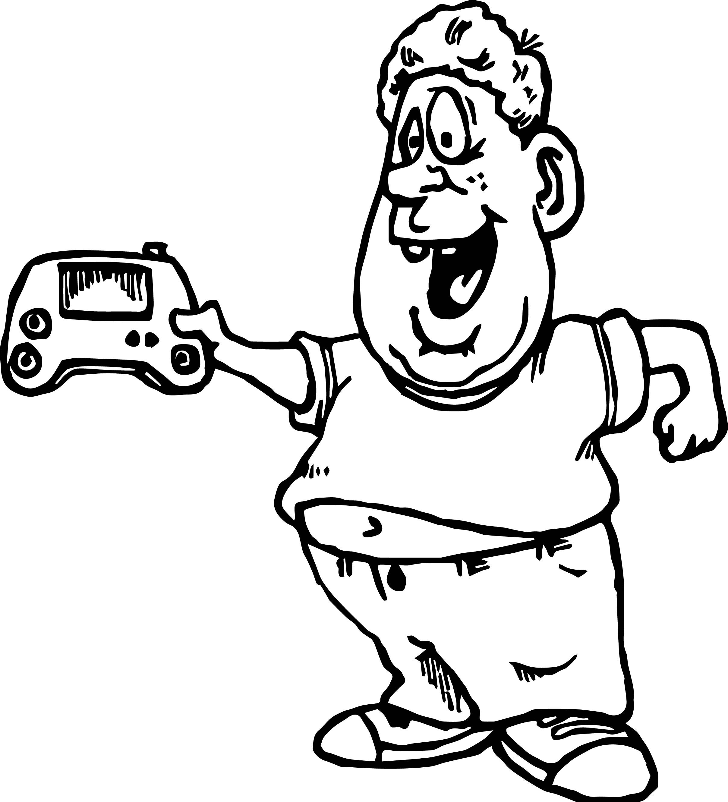 Big man playing computer games coloring page for Big coloring pages