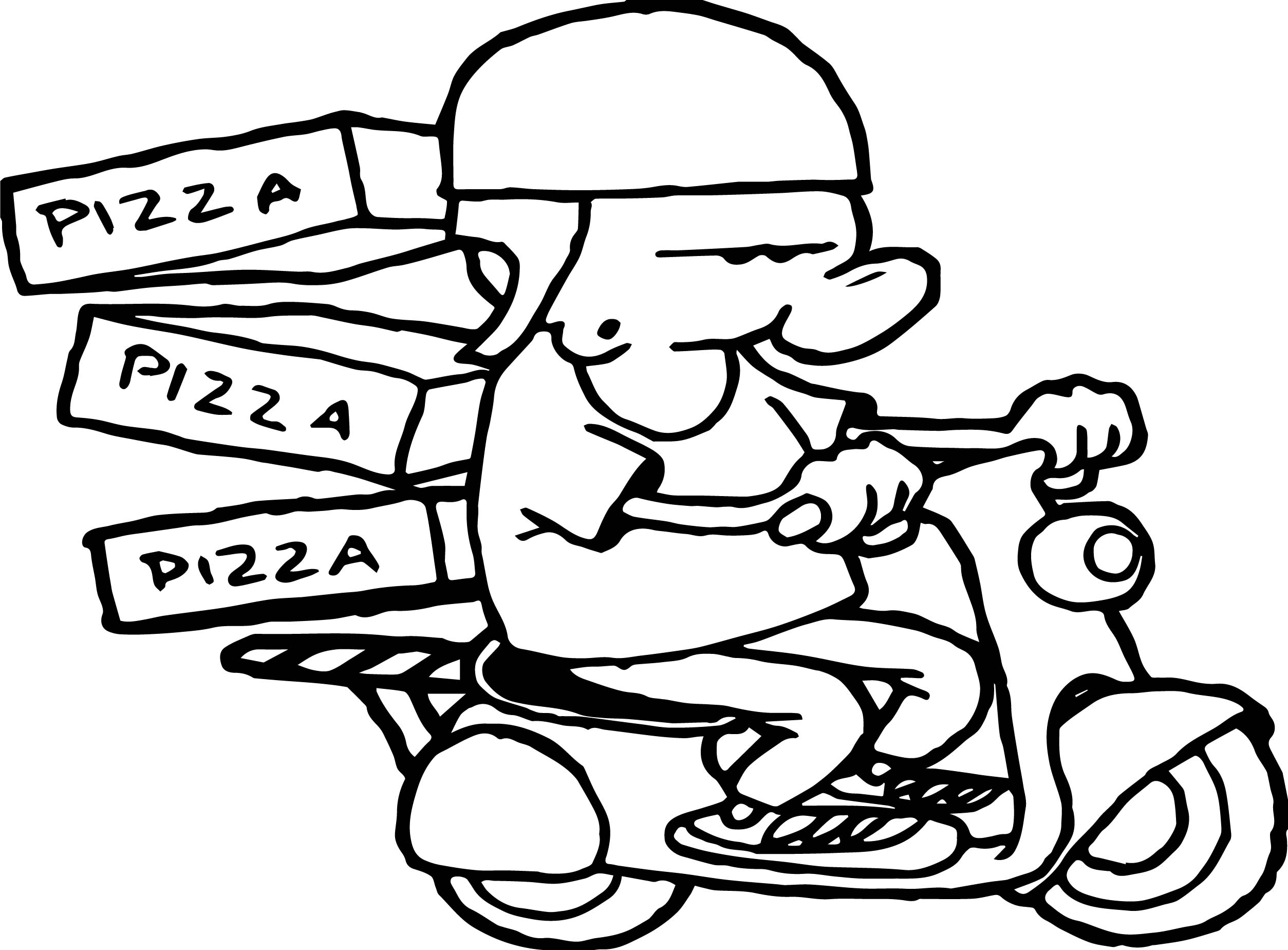 Bike And Pizza Boy Coloring Page Wecoloringpage