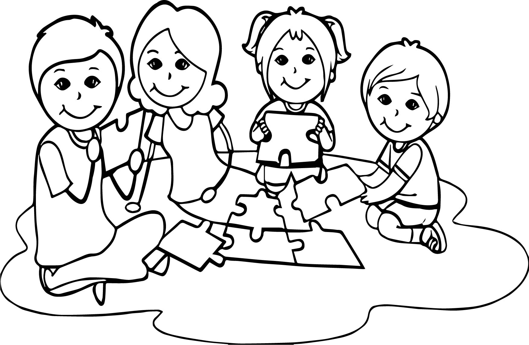 Board Children Puzzle Coloring Page Wecoloringpage Com