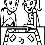 Board Game Boy And Girl Coloring Page