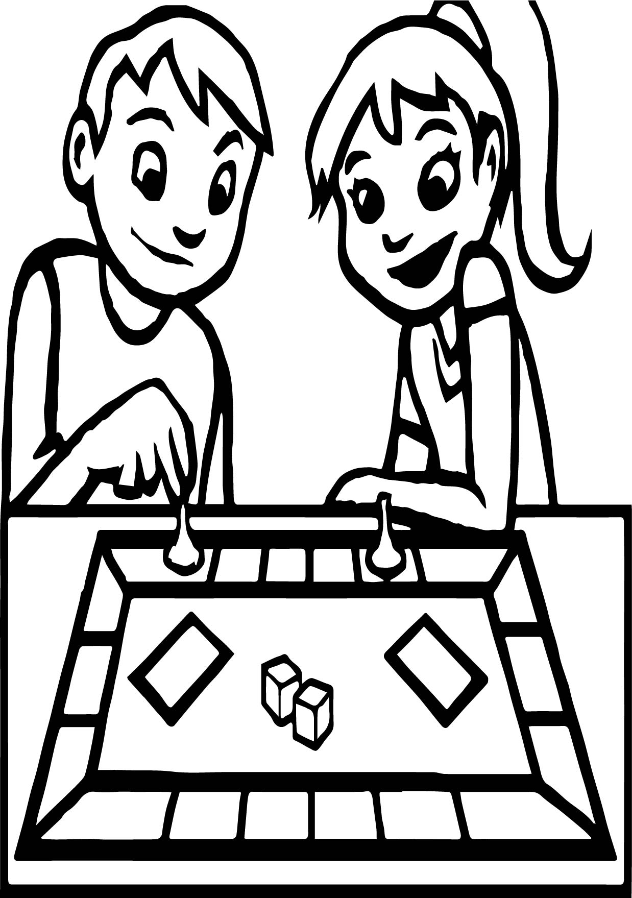 board game boy and coloring page wecoloringpage