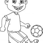 Bounce Ball Kids Soccer Playing Football Coloring Page