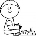 Boy Board Game Coloring Page