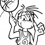 Boy Playing Basketball Coloring Page