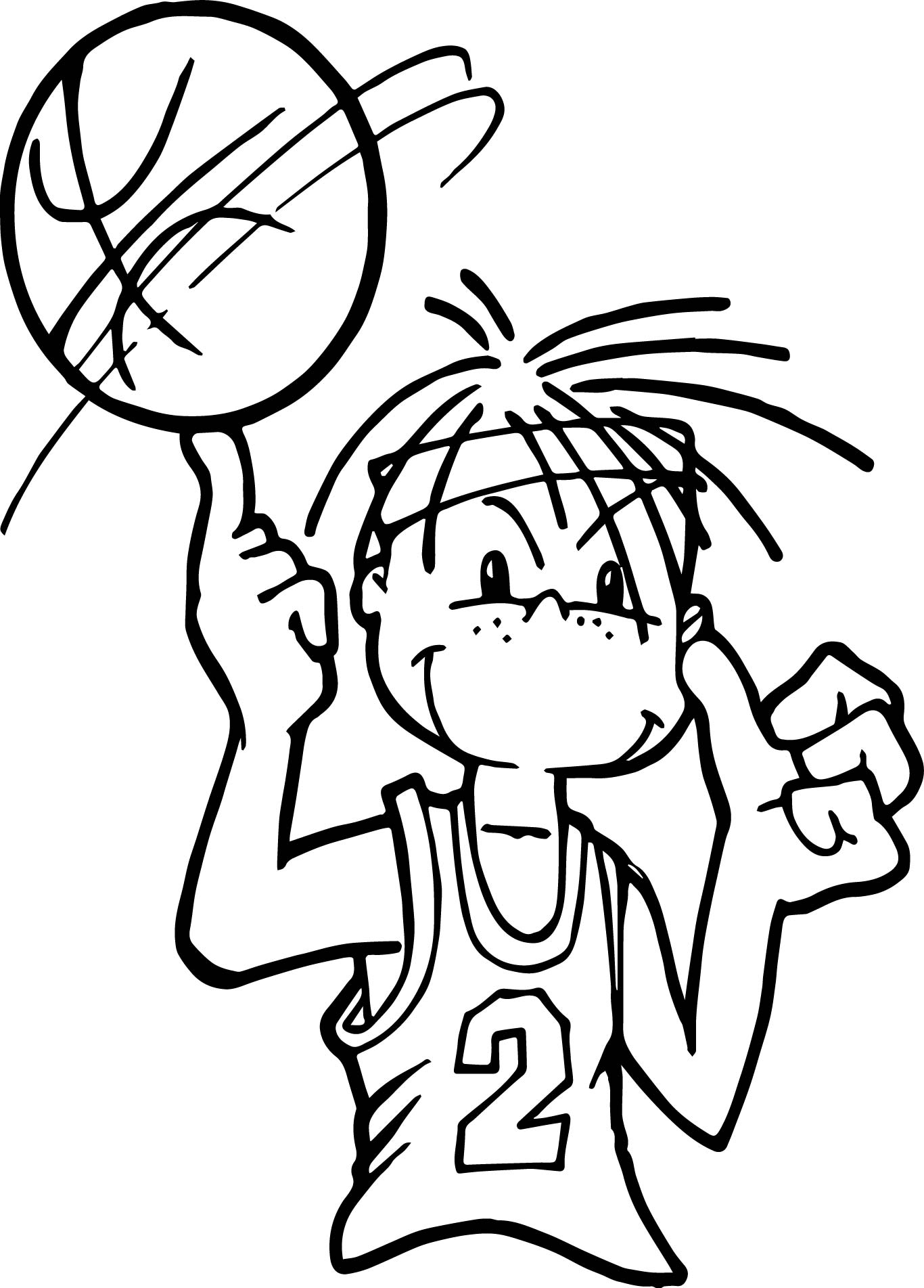 Little Boy Playing Basketball Coloring Page