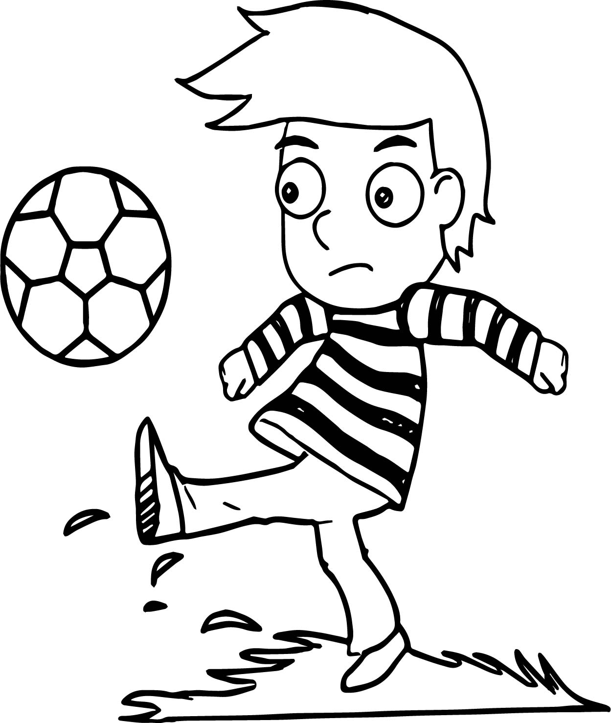 Boy Playing Soccer Playing Football Coloring Page