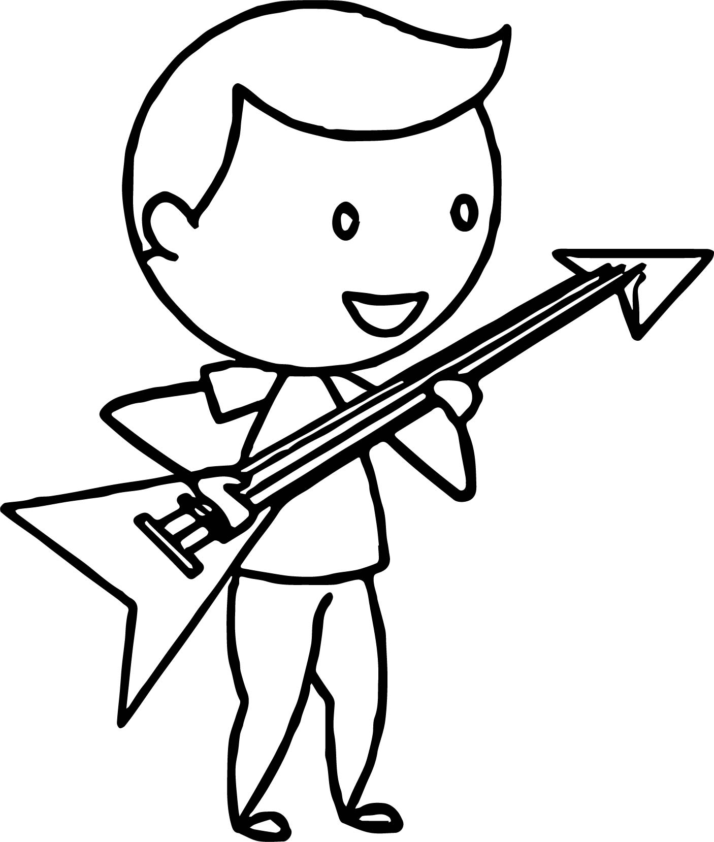 Electric Guitar Coloring Page By Harpsichord Pages