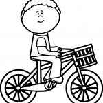 Boy Riding Bicycle With Basket Coloring Page
