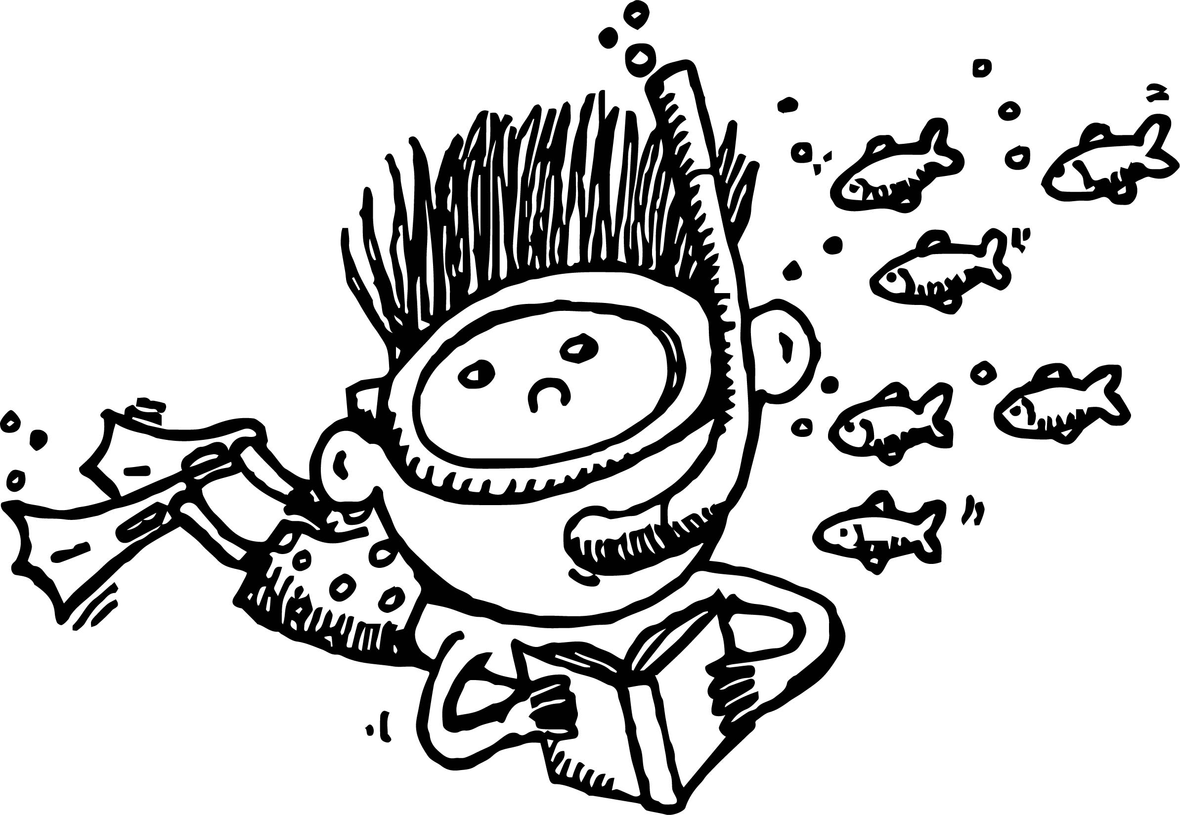 Boy Underwater Coloring Page