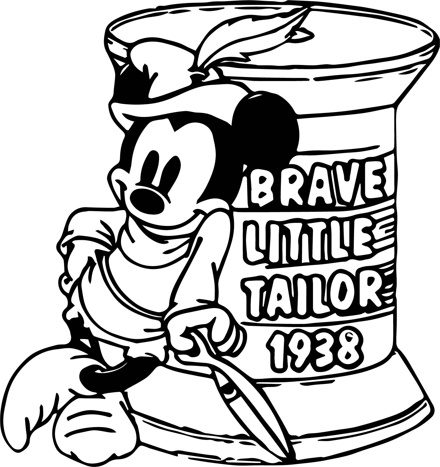 brave little tailor mickey coloring page wecoloringpage