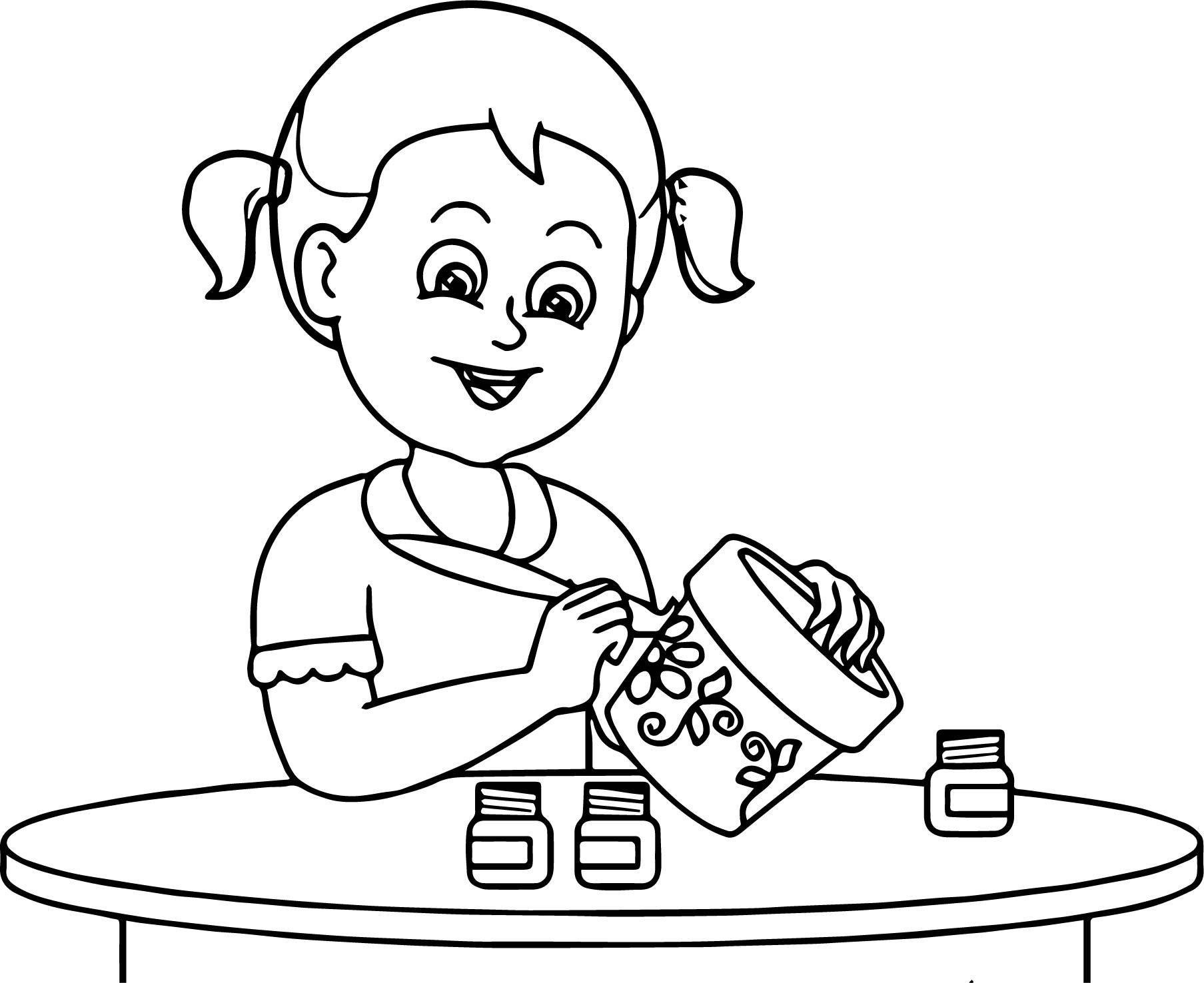 Bucket Painter Girl Coloring Page