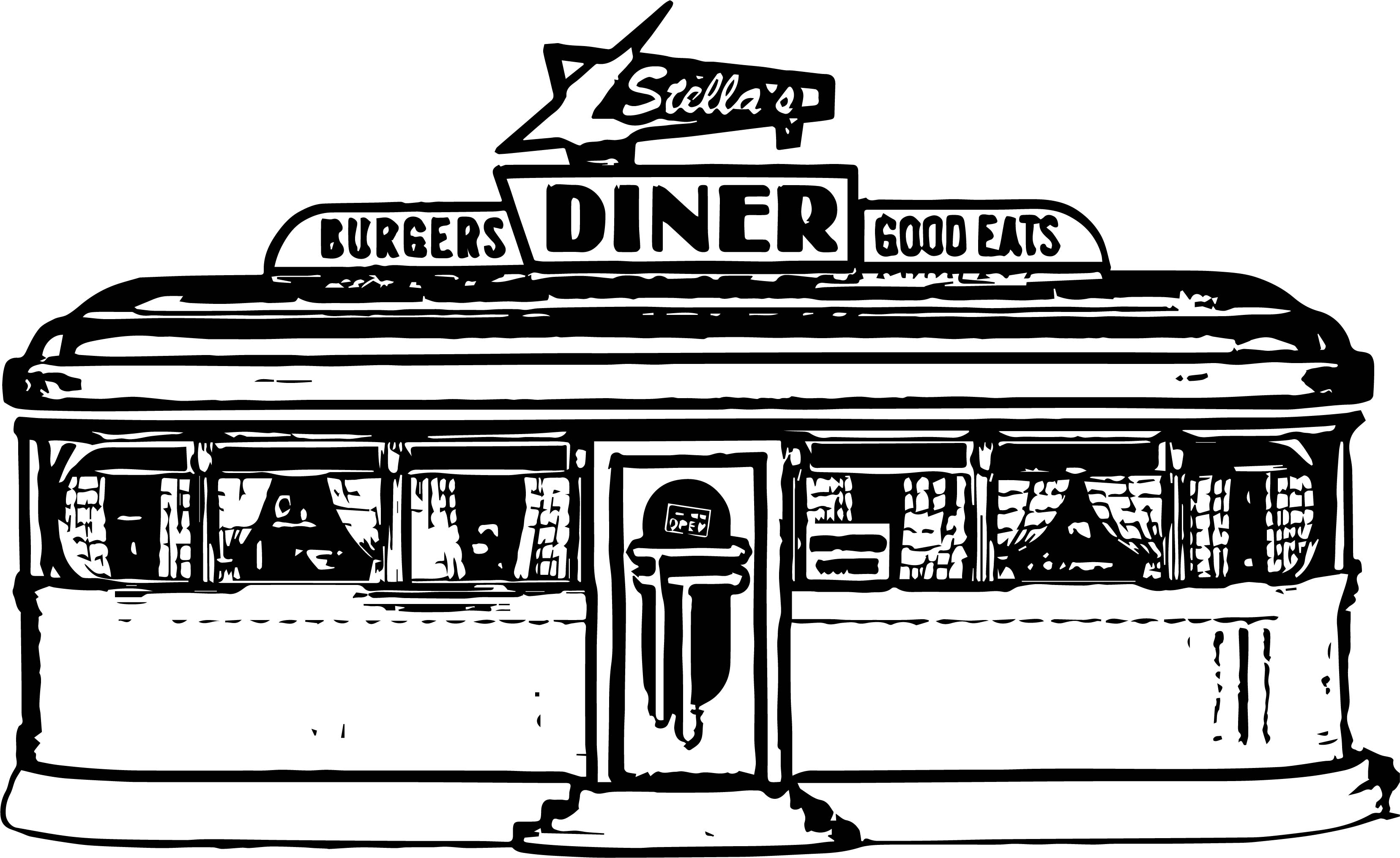 Burgers diners good eats stella restaurant coloring page Coloring book cafe