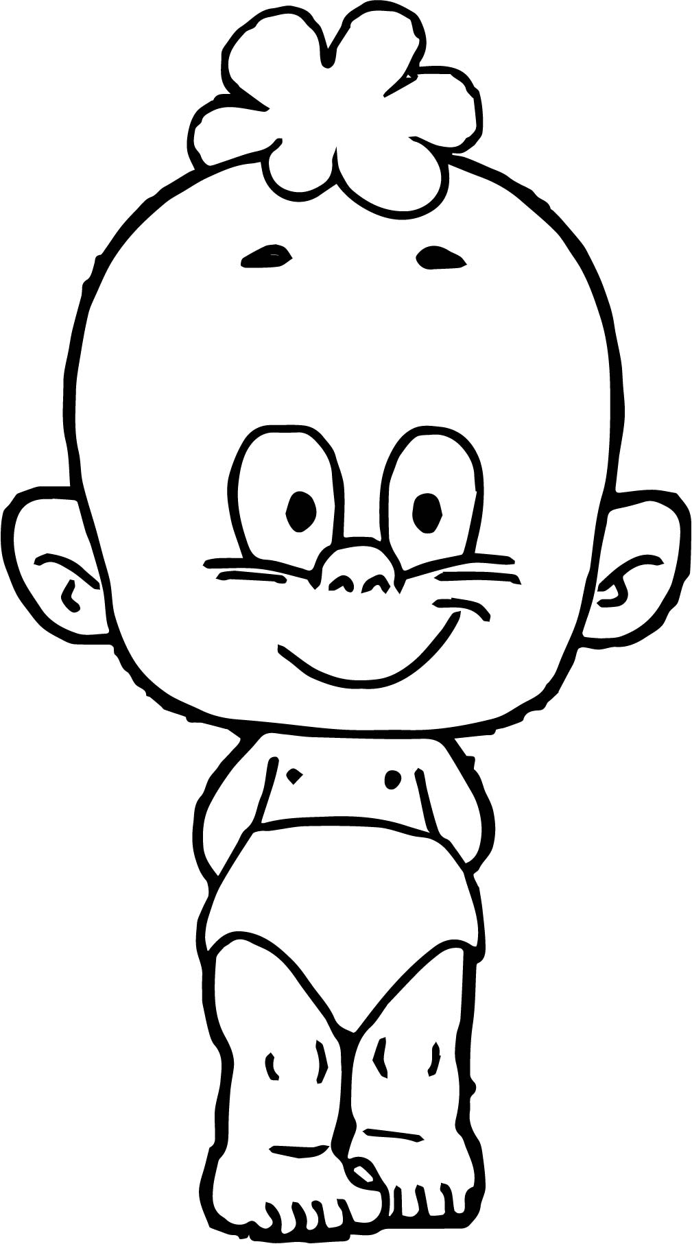 Cartoon Baby Smile Boy Coloring Page Wecoloringpage