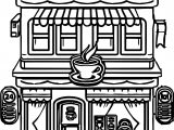 Cartoon Building Restaurant Coloring Page