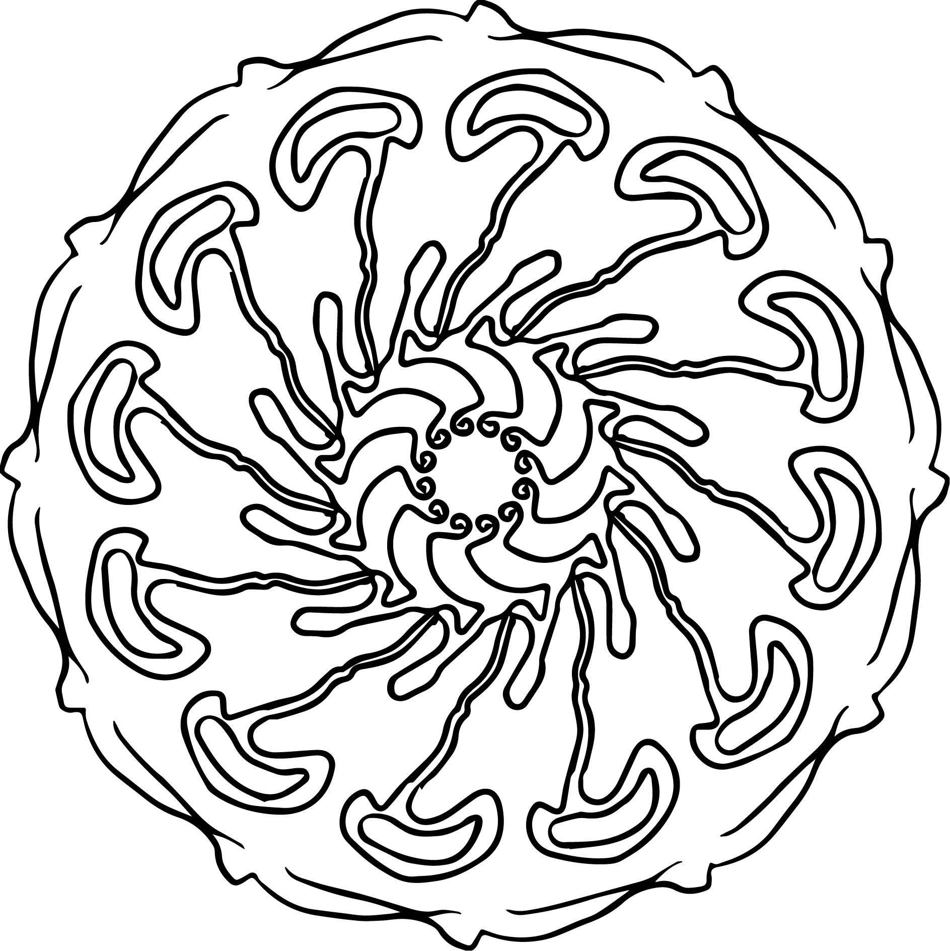 Cell Mandala Orniment Coloring Page