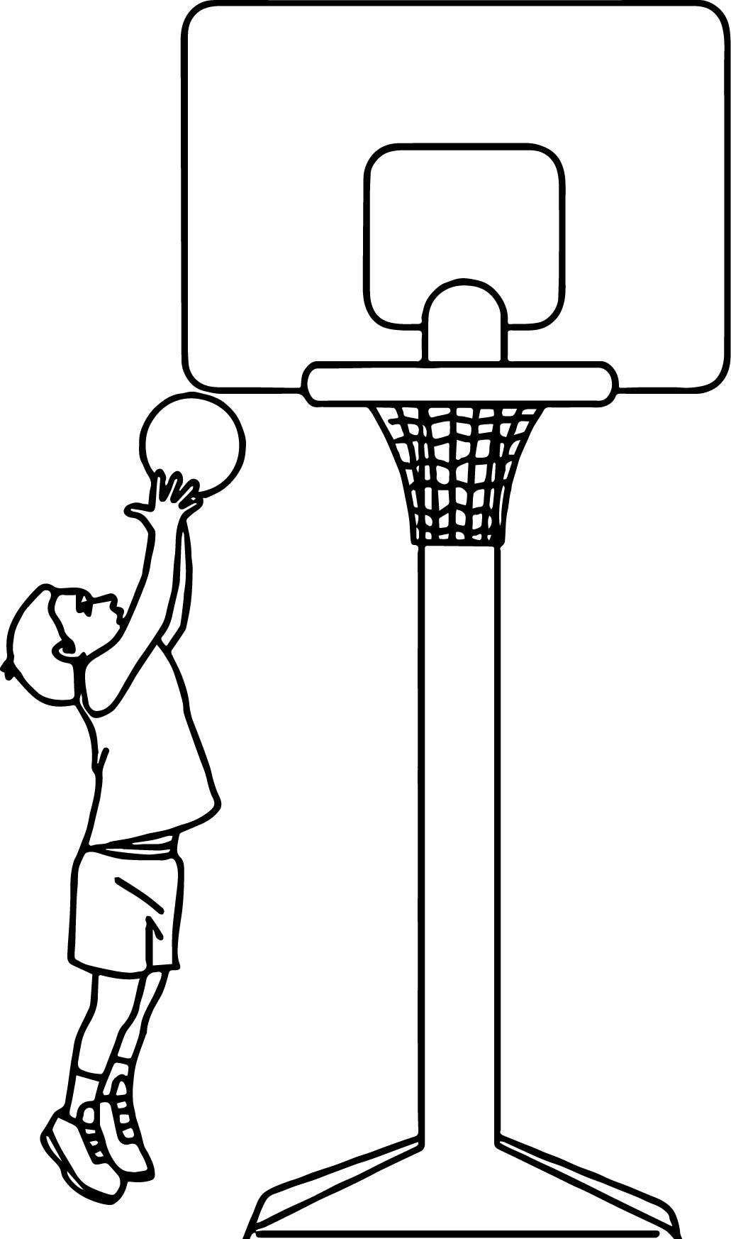 Child Playing Basketball Playing Basketball Coloring Page