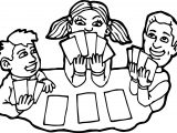 Children Playing Card Board Coloring Page