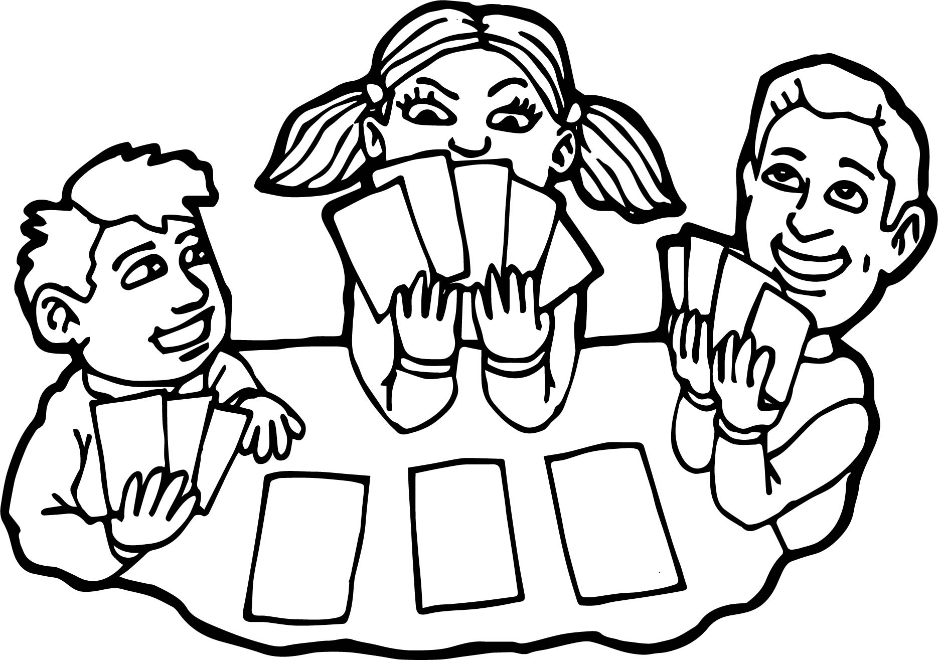 Children playing card board coloring page for Playing cards coloring pages